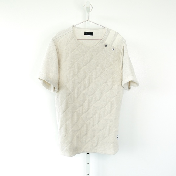 Tackma Fly Tampa Quilted Pullover Tee in Cream
